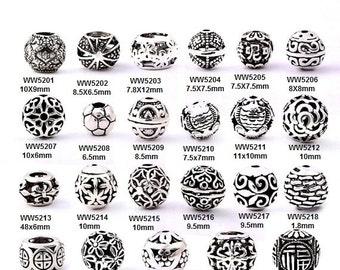 Thai 925 Silver Hollow Ball Ornament Beads, Wholesale-WEN26245184881-GVN