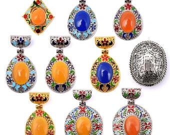 DIY Cloisonne Retro Handmade Gemstone Pendant for Necklace-WEN45335606290-GVN