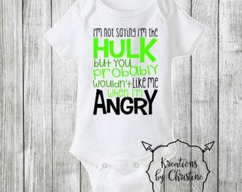 Hulk Onesie, Funny Hulk Onesie, Funny Onesie, Boy Onesie, Avengers, The Hulk