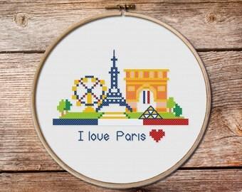 Pretty Little Paris, pretty little cities, Paris, French little cities, city cross stitch pattern, Modern Cross stitch pattern PDF