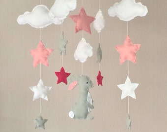 Baby mobile - Cot mobile - clouds, stars and bunny - Cloud Mobile - Nursery Decor  - Pastel baby mobile - pale grey, white and pink