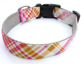 Personalized pink plaid Dog Collar- matching leash and/or embroidery available