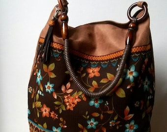 Brown Bohemian Bag Boho Chic Vegan Bag Flowers Zippered Bag Floral Pattern Unique Bag Decorative Tassel For Admirers Boho Gift For Her