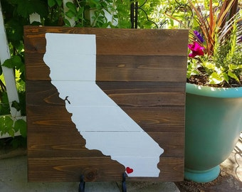 21x21 Wood State Wall Art -California CA silhouette
