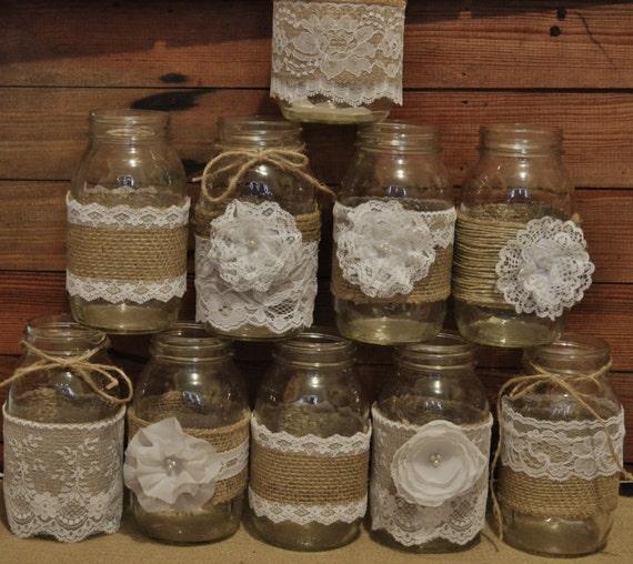 Rustic Jars For Wedding: 10 Mason Jar Sleeves Wedding Centerpieces Rustic Wedding