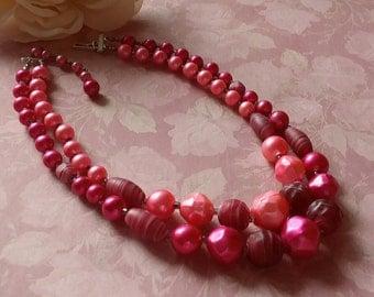 Japan Pink Lucite Necklace Plastic Necklace  Double Strand Mid Century Vintage 1950s