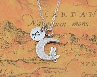 Moon cat necklace,crescent jewelry,cat in the moon charm necklace,kawaii cat necklace,moon necklace, Christmas gift