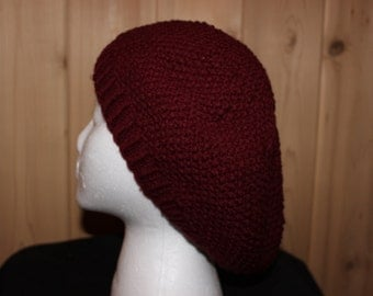 """Hand Knit Seed Stitch Slouch Hat in """"Maroon"""""""