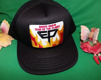 Ennis Paikin EP Year of the Flames 1989 Ennis Paikin Steel Company Embroidered Baseball Hat, Vintage Cool Flames Hat