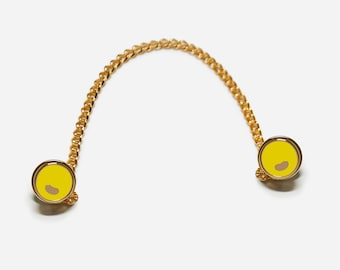 Yellow Button pins, 3-Way Collar Pin