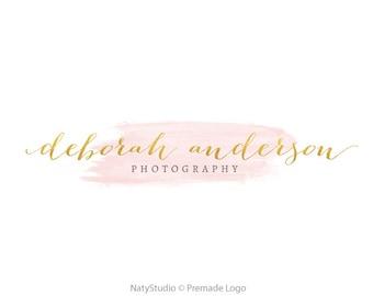 Gold logo premade logo calligraphy logo pink logo text only logo glitter logo