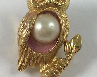 Vintage Avon Owl Fall Nature Brooch
