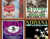Homemade Ceramic Coasters - Nirvana Concert Poster Coasters - Set of 4 - Kurt Cobain