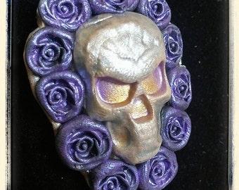 3D purple rose skull pendant Gothic necklace
