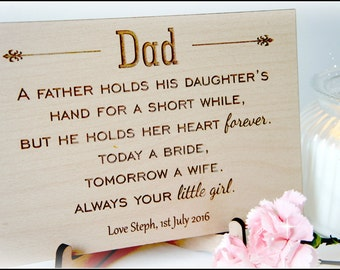 Personalised Dad Wedding Sign, Dad Wedding Gift, Father Of The Bride Wooden Sign, Personalised Dad Wedding Gift