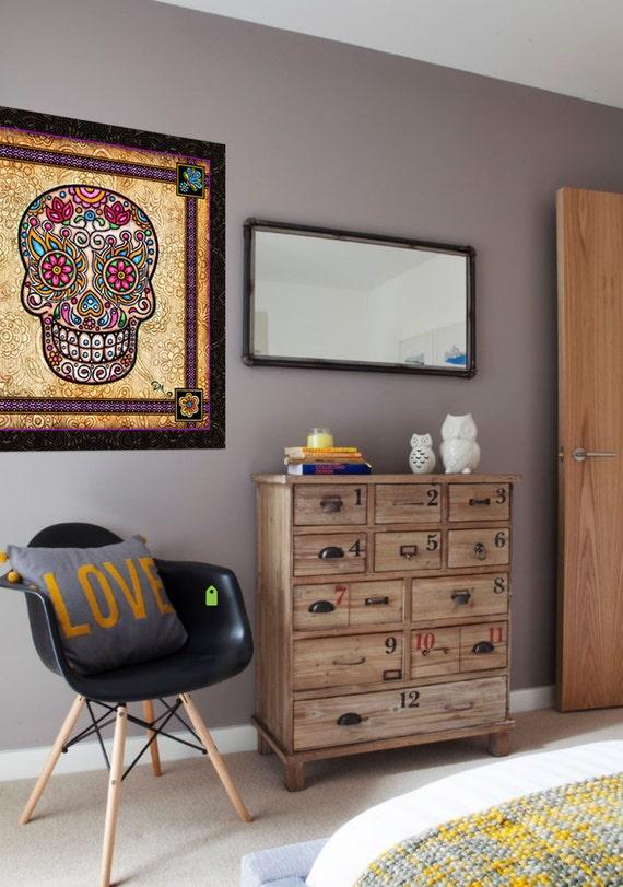 Artistic Wall Design Inc : Danmorrisart vintage head sugar skull square