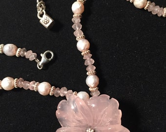 Quartz Flower, fresh water pearls, silver, and faceted quartz bead necklace