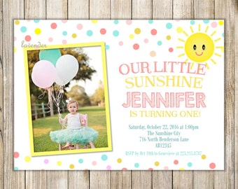 LITTLE SUNSHINE BIRTHDAY Party Invitation, You Are My Sunshine Invite, Yellow Pink Teal Mint Lemonade Sun Girl Birthday Photo, Miss Sunshine