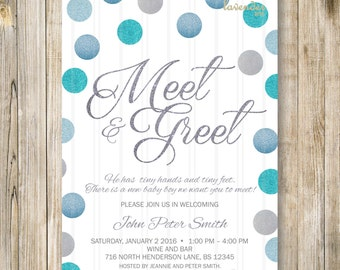 MEET and GREET Invitation, Silver Blue Glitters Meet the Baby Invite, Sip & See Party, Blue Baby Boy Shower, Diy Printable Digital