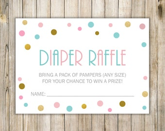 Blue Pink Gold DIAPER RAFFLE, Pink Blue Gold Baby Shower, TWINS Shower Game, Diy Printable Gold Polka Dots Diaper Raffle, Instant Download