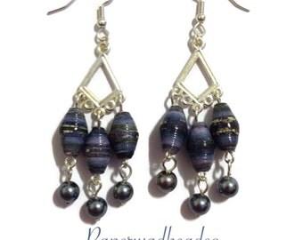 Paper Bead Earrings, Paperbead Earrings, Paper Bead Jewelry, Paperbead Jewelry, Country Blue Chandelier Earrings