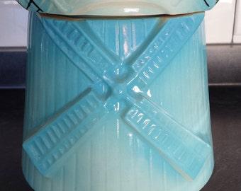 Vintage McCoy Blue Dutch Windmill cookie jar repaired