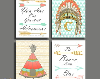 Native American Headdress print,Tribal Wall Decor,Mint-Coral-Gray-Gold Crib Bedding,Tribal Nursery Art,Monogram,Boho girls,canvas art 159