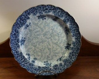 Royal Worcester Blue Scalloped Floral and Leaf Plate~Made for Abram French Co., Boston Vintage