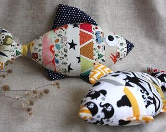 Stuffed fish. Decorative pillow  fish, multicolor fish, striped fish, toy fish, cotton fish