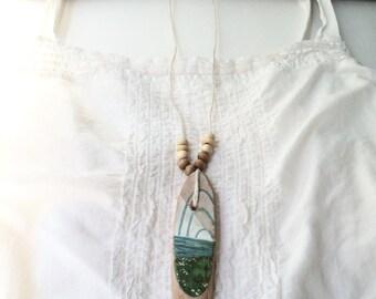 Last Meridian III / art pendant necklace / ocean art jewelry