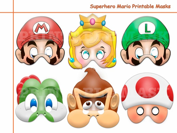 Unique Hero Mario Printable Masks Costume Birthday Photo