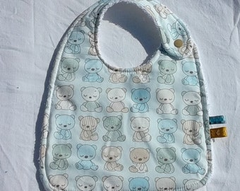 """BIB for baby """"Cubs"""" double white sponge printed cotton"""