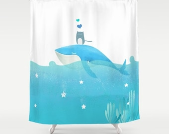 Whale Shower Curtain Etsy