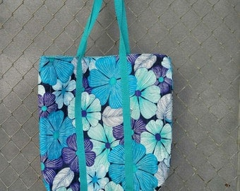 Tote, Modern Floral Market Tote, Handmade, Unique and  Ready to Ship