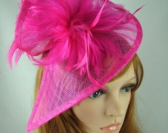 Fuchsia Pink Sinamay & Feathers Twist Fascinator - Hat Occasion Wedding Races