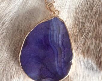 Gold purple agate necklace