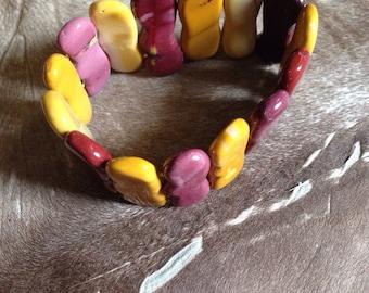Mookaite jasper beaded bracelet