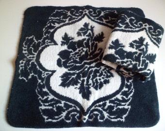 Vintage Mid Century Fieldcrest Set of 2 Washcloths~100% Cotton Made in USA