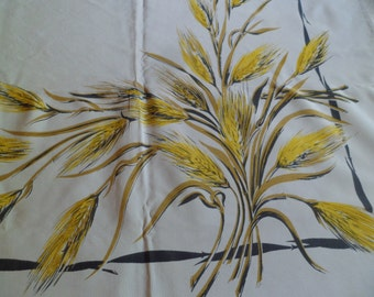Vintage California Hand Prints Golden Wheat 52 x 62 Rayon with Sewn in Label