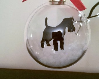 Schnauzer Silhouette in the Snow Acrylic Bauble can be Personalised