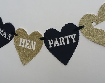 Personalised gold glitter & black hen/ bachelorette party heart bunting. Hen bachelorette night sparkly heart banner.