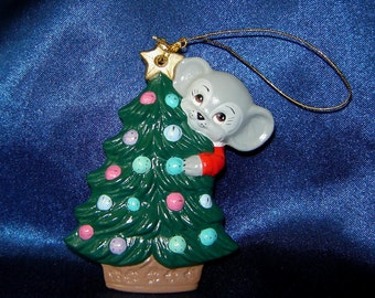 Mouse with Christmas Tree Ceramic Ornament - Christmas Ornaments - Mouse Ornaments - Mice Ornaments
