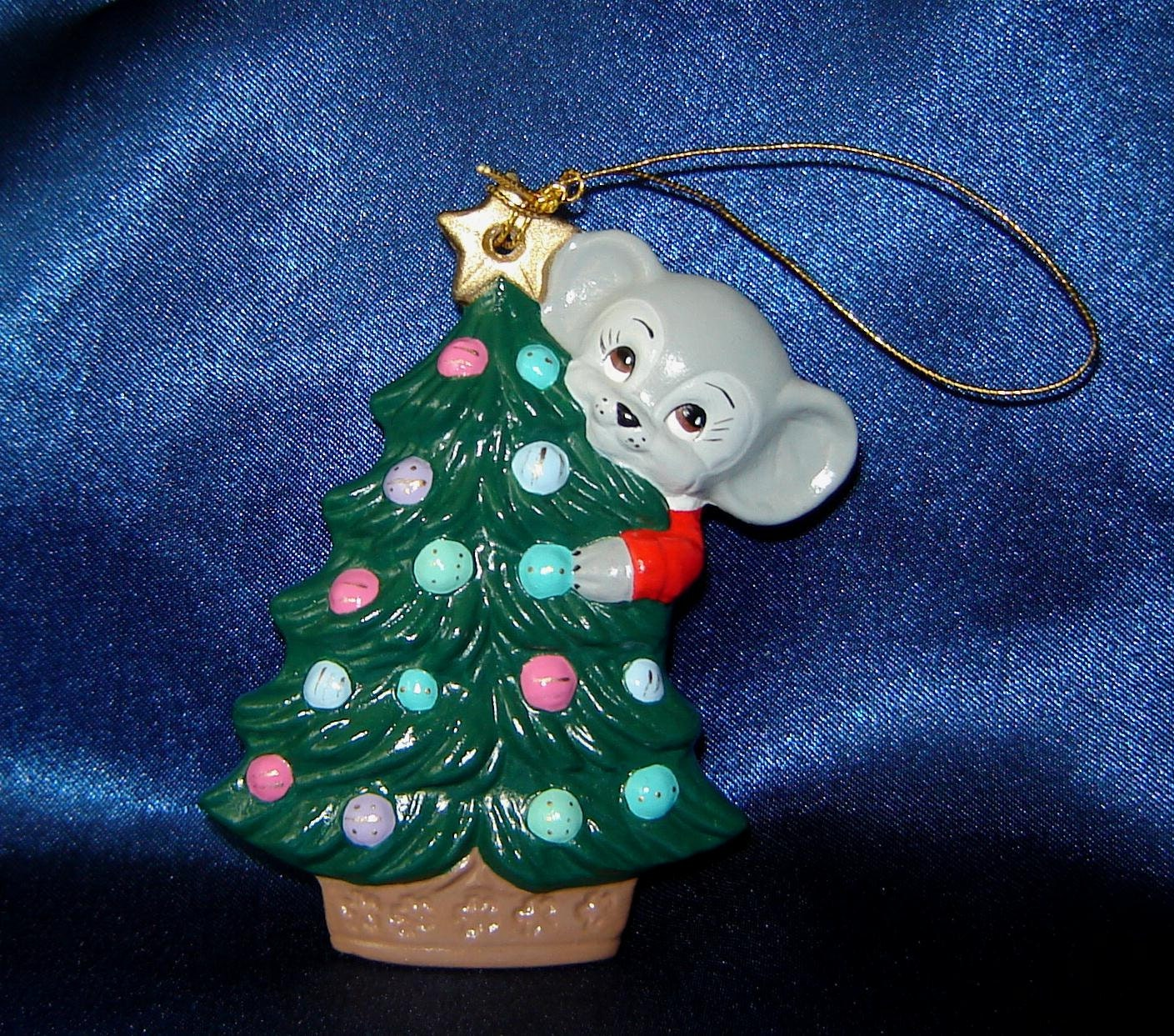 Mouse with Christmas Tree Ceramic Ornament Christmas