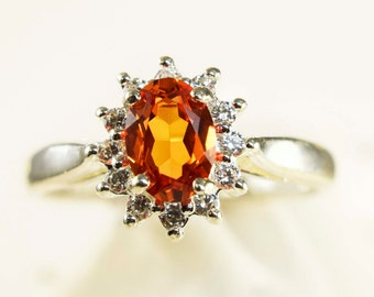Sterling Silver Padparadscha Sapphire Ring With Halo