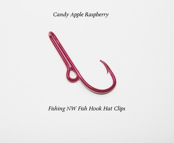 Candy apple raspberry colored fish hook hat clip by for Fishing hook hat clip