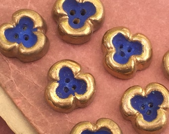Pair of wonderful vintage 1950 handmade French ceramic buttons, blue & gold three leaf clover good luck charm children clothing, jewellery