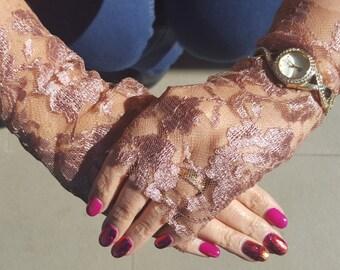 Bridal Fingerless Lace Gloves - Handmade