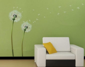 White Dandelion wall decal,flow in the wind wall decal,dandelion wall stickers,dandelion flying wall decal children's room sticker