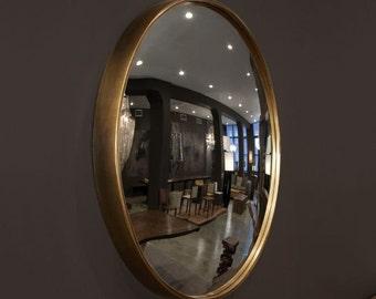 "30"" Brass framed convex mirror"