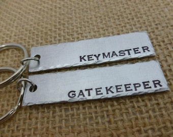 Keymaster gatekeeper  his herPersonalized Hand Stamped Jewelry - Gate Keeper - Key Master -Key Chains - set of 2 hand stamped